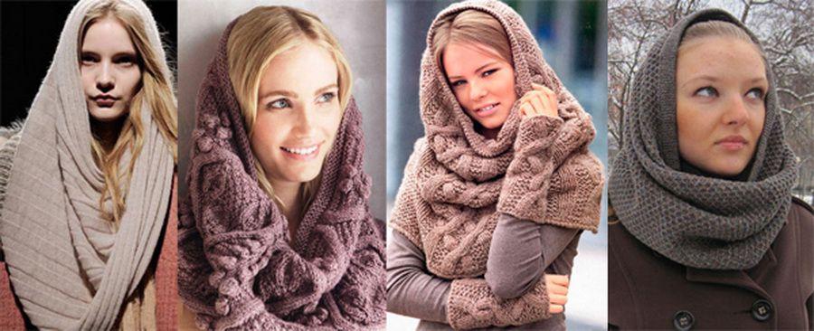 Модный шарф снуд спицами