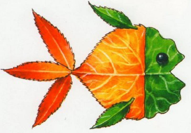 поделки на картоне из листьев фото